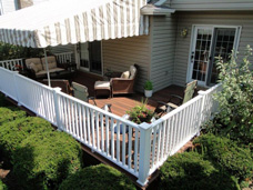 This S.W. Millcreek, PA customer is able to enjoy the sun and the shade on their new private backyard retreat.  Their new PVC deck and railing materials are maintenance free and offer durability for many years to come.